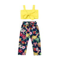 Wholesale long sleeve yellow tops kids for sale - Group buy Casual Toddler Kids Girls Yellow Strap Bowknot Tank Tops Tropical Fruit Print Bow Belt Long Pants Outfits Summer Clothes