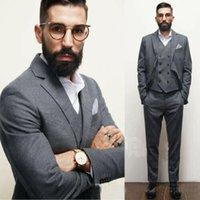resmi çocuk paltosu toptan satış-Yakışıklı Gri Erkekler Wedding Suit Resmi Damat Giyim Coat Çentikli Yaka Balo Parti Blazer Suit (Ceket + Yelek + Pantolon)
