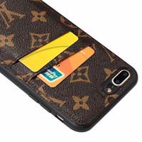 nota protector de pantalla espejo al por mayor-Estuche de teléfono de lujo para iPhone X XS Max XR 7 8 plus Funda de cuero para titular de tarjeta para Galaxy S10E S10 Plus S9 S8 Plus Note9 8 Estuche para teléfono de diseñador