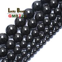 natürliche turmalinperlen schwarz großhandel-Natürliche schwarze Turmalin Runde für Schmuck machen 15 Zoll 4/6/8/10 / 12mm Edelstein Perlen Diy Armband 2