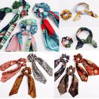 accesorios para coletas al por mayor-Floral Leopard Scrunchies Bufanda para el cabello Elástico Boho Streamers Bow Hair Rope Ties Scrunchie Ponytail Holder para accesorios para el cabello 30 colores