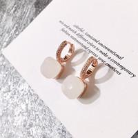 steinsüßigkeit großhandel-Designer Schmuck Frauen Creolen heiße Farbe Stein Mikro eingelegte Candy Farbe Quadrat Stein Kristall Ohrringe Diamant Ohrringe