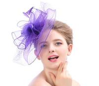 kadınlar büyüleyici şapkalar toptan satış-Keten Kadın Şapka Klasik sinamay fascinator büyük şapkalar düğün tuhafiye şapkalar parti başlığı düğün şapkalar çoklu renk