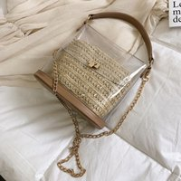 Wholesale small beach buckets resale online - Straw bag For Women New Summer Small Ladies Travel Crossbody Bags Fashion Transparent Beach Bags Female Handbags and Purses
