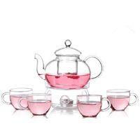 Wholesale tea glasses set for sale - Group buy 6pcs pack Clear Modern Flowers Tea Set Warmth Teaware Cups Tea Pot Kungfu Teaware for Lemon Drink Hot Iced Fruit Tea