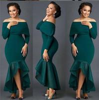 vestidos de dama de honor verde africano al por mayor-Hunter Green Mermaid 2019 vestidos de dama de honor africanos mangas largas Vestidos de invitados baratos Fiesta formal Fiesta de noche Vestidos de baile ZJ151