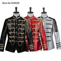 veste de costume noir brillant achat en gros de-Paillettes brillantes pour hommes Dj Slim Fit Suit Jacket Blazer Red Sliver Black Six Button smoking pour la fête, mariage, banquet, bal de promo