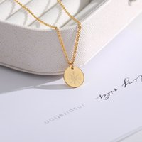 sonnenförmige halskette großhandel-Gravierte Cartoon Sonnenschein-Halskette für Frauen Netter Sun Gold Edelstahl Halskette runden Geschenke für Freunde BFF