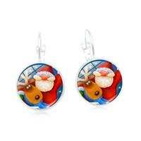 Wholesale acrylic earrings patterns resale online - 2019 new creative earrings Christmas series retro time gemstones variety of pattern earrings ear hooks