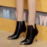 botas vermelhas de salto alto venda por atacado-Inverno novo couro de salto alto moda botas curtas internacional das mulheres designer de vestido preto vermelho modelo de casamento sapatos 35-39 tamanho