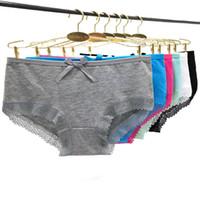 Wholesale woman underwear packs for sale – plus size Pack of Lace Trim Lady Panties Plain Cotton Women Short Brief Women Boyshort Underwear Hot Girl Pants Sexy Lingerie