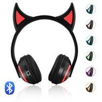 ingrosso sony lampeggia-Cuffie auricolari Cat Stereo Bluetooth appena accese Cuffie auricolari da ardere a forma di gatto auricolari Gaming Headset Auricolare 7 colori LED light
