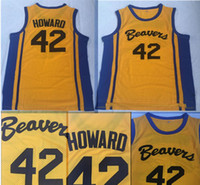 42 film großhandel-Film Howard Beavers 42 Scott Howard Jersey Basketball trägt Trikots Yellow American Film Version Zustand Günstige Genähte Top-Qualität S-XXL