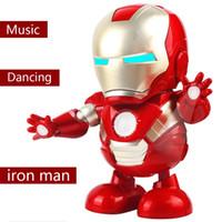 mini oyuncak robotları toptan satış-Erkekler için dans Robotlar-Mini Dans Demir Adam Marvel Parmaklar Avengers Oyuncaklar Dans Robot Işık Elektrikli Müzik Oyuncak