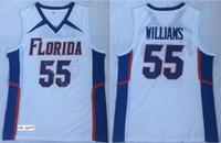 equipe de equipamentos de basquetebol venda venda por atacado-Basquete universitário Jason Williams Jersey 55 Homens Venda UFL Dupla Florida Jacarés Jersey Esporte Uniforme Equipe Cor Branco Frete Grátis