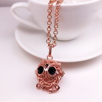 white gold owl necklace 2021 - luxury designer jewelry necklace owl pendant Aromatherapy Essential Oil Diffuser ball iced out chains pendant necklaces jewelry NE1132