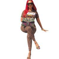 ingrosso pantaloni delle signore 3xl-Donna F Letter Print Tuta Trendy Ladies Casual Matching Outfit Summer Maglietta manica corta Top Pant Leggings 2 Piece Set 3XL New C444