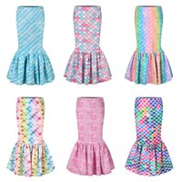 Wholesale mermaid tights for sale - Group buy Baby Mermaid Princess Skirts Waist Band Tight Fishtail Trumpet Skirt Fish Scale Printed Sundress Cosplay Costumes Kids Clothing M1186