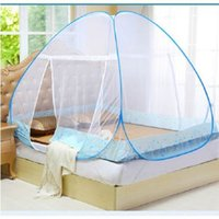 Wholesale free single beds resale online - Outdoor Travel Mosquito Net For Bed Yurt Free Installation Bottomed Folding Single Door Netting Single Twin Queen King