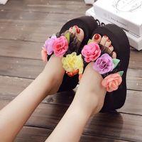 Wholesale flat platform animal resale online - Womens Lace Muffins Flower Platform Wedge Heels Beach Flip Flops Slippers Summer Shoes Outside