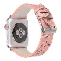 correa de reloj de cuero flor al por mayor-Nuevo diseño estampados de flores Banda de reloj de cuero para Apple Watch 38/42 mm Pulsera Cherry Blossoms Band para iWatch Metal hebilla