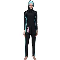 Wholesale islamic swimsuits for sale - Group buy Muslim Plus Size Swimwear May Women Fused Modest Moslim Cover Muslim Swimsuit Islamic Hijab Badpak Zwart A Modest Swimsuit
