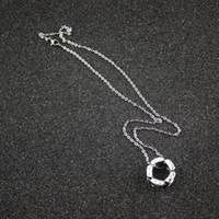 ingrosso donne nere di diamanti-Luxury Woman Black Ceramic Collane Women Ultra Diamond Silver Catins per Donna 925 Charms Fine Jewelry