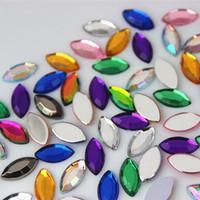 ingrosso pietre acriliche flatback-300pcs 5 * 10mm horse eye mix colore acrilico strass di cristallo flatback strass pietra per i vestiti vestito craft zz722