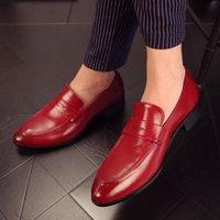 ingrosso nightclub scarpe rosse-2019 Autunno New Wild Personality Scarpe da uomo in vera pelle Nightclub Trend Scarpe rosse Affari Uomo Casual