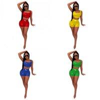 camisoles ajustados al por mayor-Sexy traje de Pu de dos piezas Conjunto Camisola Shorts Ropa deportiva Damas Medias Verano Colores brillantes Mix 40yz f1