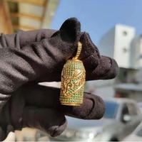 ingrosso 14k corda oro massiccio-Collana ciondolo in argento massiccio placcato oro spumante 14k con micro pendenti in oro e diamanti con catena in corda da 24 pollici