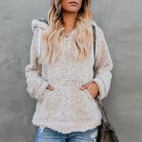 roupa feminina sweater venda por atacado-Mulheres Sherpa Camisola de Lã Moletom Com Capuz Pullovers Polares Sólidos Tops de Pelúcia Camisolas Blusas Outwear Inverno Quente Casaco Peludo Pano C91106