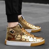 botas de salto alto hip venda por atacado-Moda jovens homens meninos não-slip sapatos ankle boots plana calcanhar high-top casual sneaker skate sapatos de alta qualidade PU de couro Hip hop