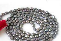 ingrosso perle d'acqua dolce nere barocco-collana Spedizione gratuita ++++ 812 13mm barocca lustro collana di perle d'acqua dolce nero