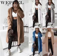 WEPBEL Women Wool Blends Open Thick Warm Winter Autumn Casual Fashion Full Sleeve Long Ladies Blend