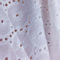 bordado de algodão suiço de algodão venda por atacado-Tela suíça branca do bordado do laço do algodão para o vestido, 1Yard 90 * 130cm, telas do laço do Tissu do ilhó do voile do algodão, pano Sewing dos retalhos