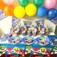 documentos de ideas al por mayor-Fiesta de cumpleaños de tiburón bebé Suministros Banners de vasos de papel Decoración para niños y niñas enfant Tema Set de vajilla