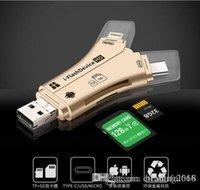 lecteur de carte iphone sd achat en gros de-Marque 4 en 1 i-FlashDevice HD Adaptateur de lecteur de carte Micro SDTF pour IPhone 5 6 7 8 pour IPad Macbook Android Caméra Noir Blanc OR
