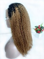 Wholesale mongolian blonde kinky wigs resale online - 1B Honey Blonde Lace Front Wig Raw Indian Kinky Curly Ombre Human Hair Colored Wigs Preplucked Blonde Curly Full Lace Wig Natural Hairlin