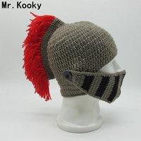 kadın maskeleri gags toptan satış-Mr.Kooky Kış El Yapımı Komik Şapkalar Serin Kırmızı Püskül Roma şövalye Kask Maske Kasketleri Cosplay Kapaklar erkek kadın Gag Parti hediyeler
