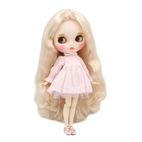 Wholesale baby white lips online - Blyth nude doll cm white skin Wild light golden curls hair JOINT body new matte face with eyebrows Lip gloss ICY DIY toy