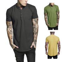ingrosso giubbino t-shirt-Mens Designer T Shirt Joker in cotone O-Collo con bottone solido sottile slim fit comodo da indossare estate manica corta