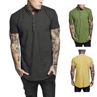 minces t-shirts achat en gros de-Mens Designer T-shirts Joker Coton O-cou Avec Bouton Solide Mince Slim Fit Agréable À Porter Été À Manches Courtes