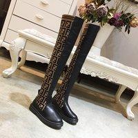 womens cuisse bottes de moto achat en gros de-2018 2019 printemps automne femmes en cuir véritable noir avec tricot extensible tissu 22 pouces cuisse-haute sur les bottes au genou tirer sur les bottes de moto