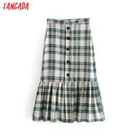 корейская зеленая юбка оптовых-Tangada женский зеленый плед плиссированные юбки-миди 2019 летом корейский стиль пляжная юбка пуговицы женские Saias 6A147