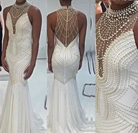 Wholesale exquisite mermaid beaded prom resale online - Sexy Mermaid Vestidos Festa Luxury Beading Pearls Exquisite Evening Dresses Illusion Sheer Back High Neck Sleeveless Prom Dress Pageant Gown