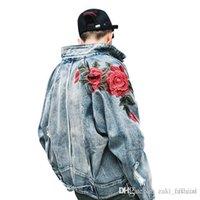 jaqueta rosa 3d venda por atacado-Primavera Nova Roupa Masculina Denim Jacket 3D Rose Flor Bordado Vintage Casacos Buraco Desfiado High Street Hip Hop Outerwear