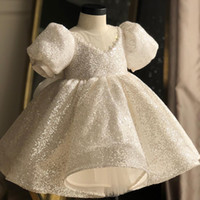 Wholesale short sleeve girls ball gown for sale - Group buy Gorgeous Hi Lo Beaded Little Girls Pageant Dresses Ball Gown Tiered Backless Flower Girl Dress Sequined First holy Communion Gowns