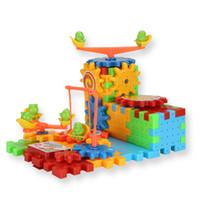 ladrillos de construcción de plástico juguetes al por mayor-Kits de construcción modelo odel de 81 unidades Eléctrica Magia Engranajes Kits de bloques de construcción Ladrillos de plástico Juguetes educativos para niños Niños Juguete Chris ...