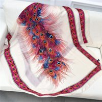peacock xales seda venda por atacado-2019 Nova Lenço De Seda Das Mulheres Impressão De Pena de Pavão Foulard Moda Feminina XalesWraps Toalha De Praia Macio Longo Lenços Lenço 180 * 90 cm